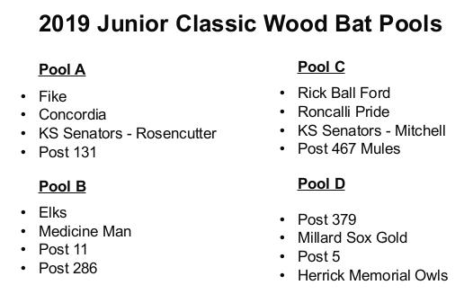 2019 Jr Wood Bat Schedule