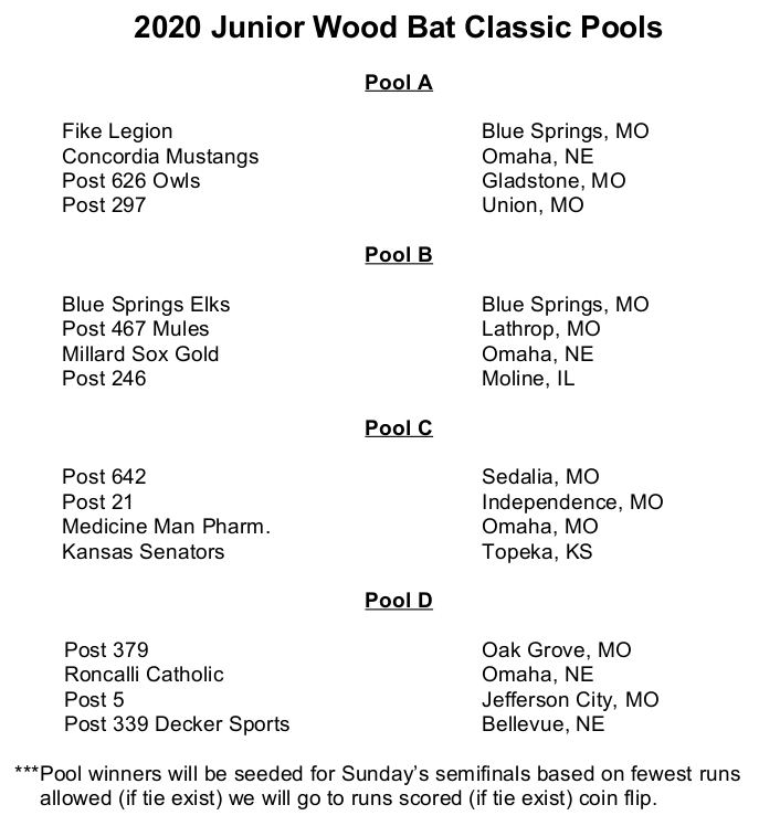 2020 Jr Wood Bat Schedule PNG