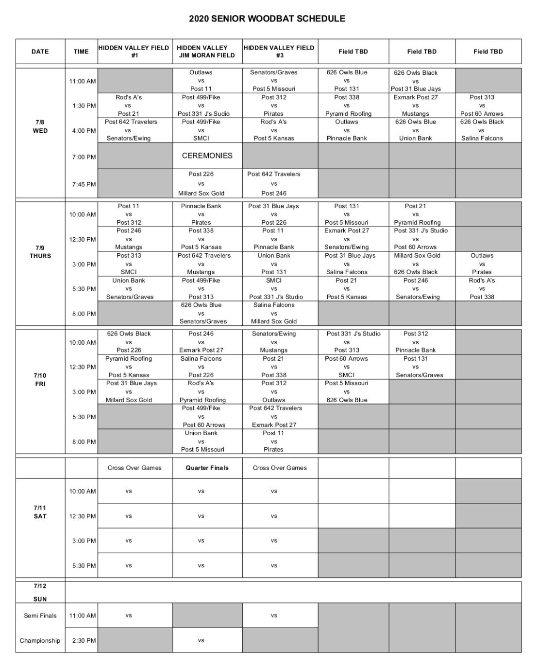 2020 Senior Tournament Schedule PNG